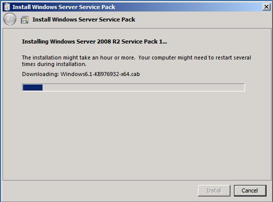 Service Pack 1 for Windows Server 2008 R2 installation